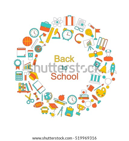 Illustration Background for Back to School, Education Simple Colorful Objects, Line Art Style -