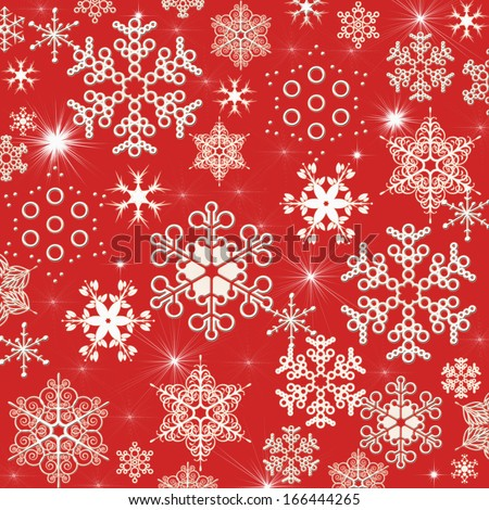 Illustration, background of white winter snowflakes for christmas and new year\'s eve holidays