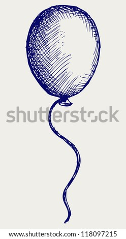 Illustration balloon. Doodle style. Raster