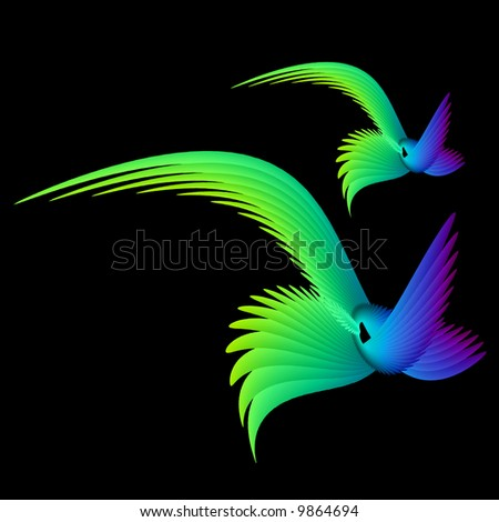 Illustration birds - stock photo
