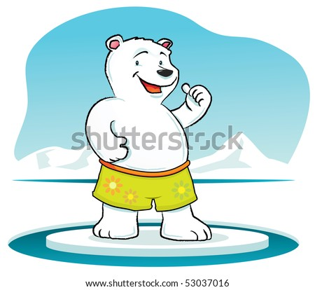 Illustration cartoon of Polar Bear with thumb up - stock photo