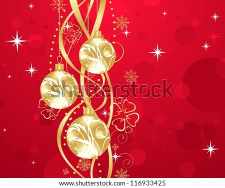Illustration Christmas background with set balls - raster