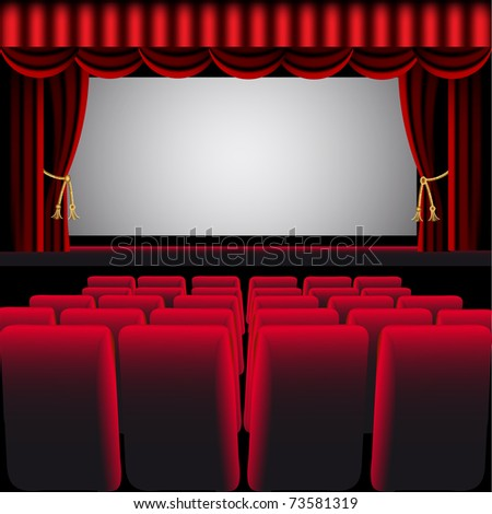 illustration cinema hall with red curtain and easy chair