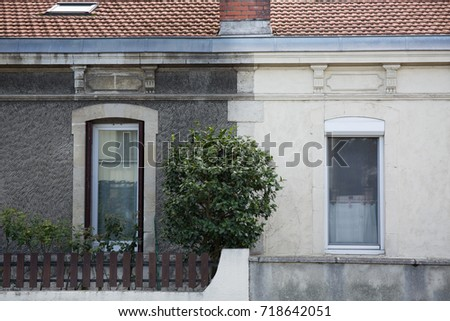 illustration cleaning washing wall house before and after pressure water facade exterior Сток-фото ©