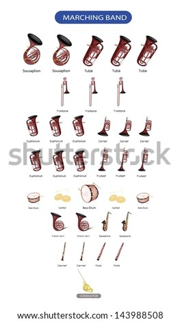 Illustration Collection of Different Kind of Musical Instrument for Marching Band Music