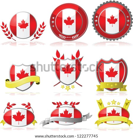 Illustration collection of glossy badges with the flag of Canada
