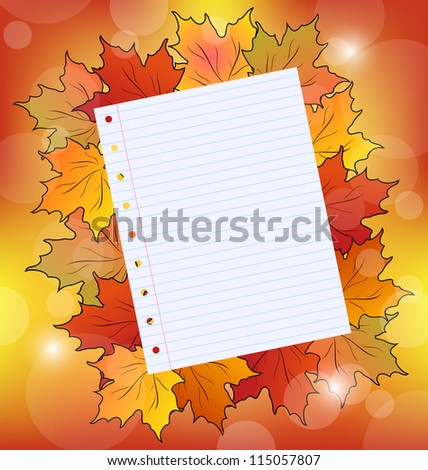 Illustration colorful autumn maple leaves with note paper - raster