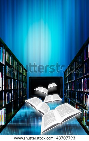 illustration concept for online or digital library
