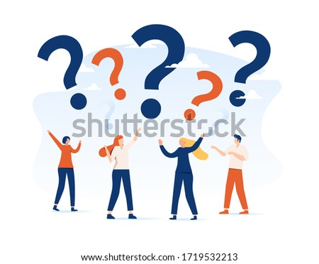 Illustration, concept illustration of people frequently asked questions around question marks, answer to question metaphor. Frequently asked questions concept, discussion or communication