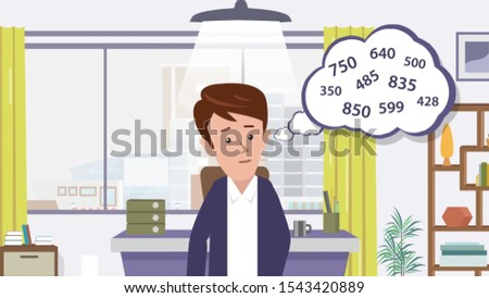 illustration concept of businessman calculating profits  numbers template background isolated, can be use for presentation, web design, banner ui ux, landing page, flyer