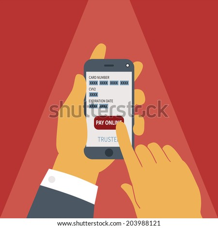 Illustration concept of mobile payment application from credit bank card on smartphone screen in man hand. Rasterized bitmap version.