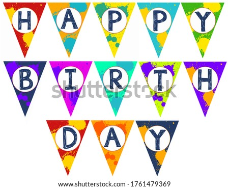 Illustration cut it out yourself DIY Art happy Birthday banner. Great for birthday parties. Paint arts and crafts party.
