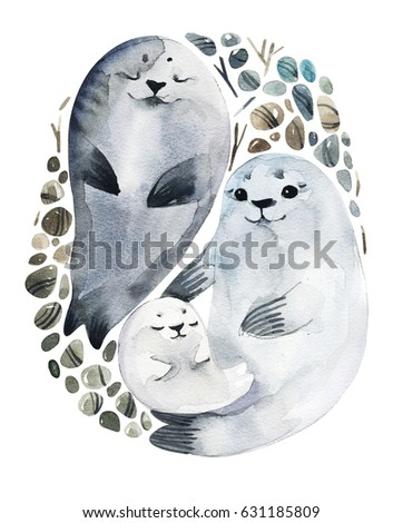 illustration cute fur seals in...