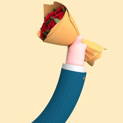 Illustration 3D of an arm holding flowers, a bouquet, concept of love, saint valentin, roses, dating, render 3d.