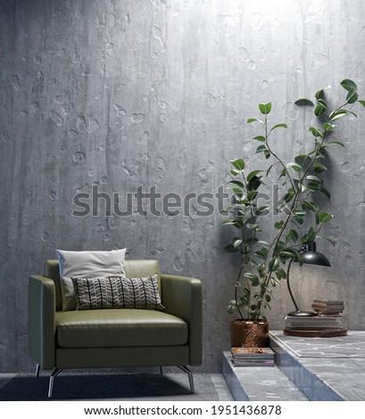 Illustration 3D rendering large luxury modern bright interiors Living room mockup computer digitally generated image Stock photo ©