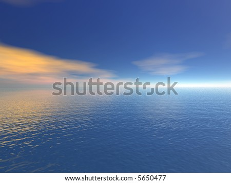 Illustration 3d: view of the sea