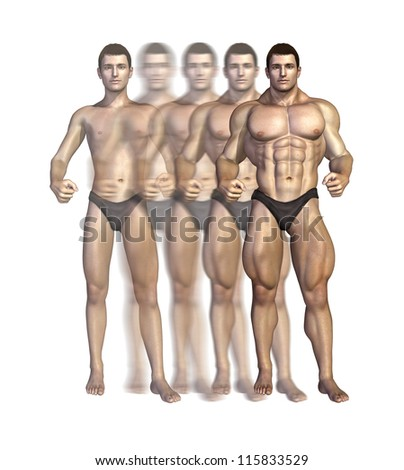 Illustration depicting a bodybuilder gaining muscle mass over time - 3D render.