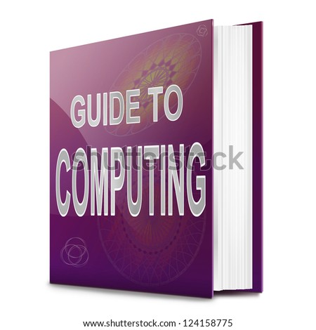 Illustration depicting a book with a computing concept title. White background.