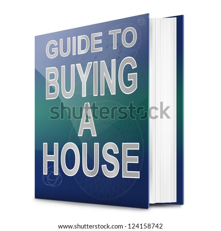Illustration depicting a book with a house buying concept title. White background. - stock photo