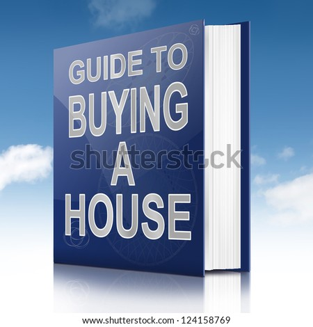 Illustration depicting a book with a house buying concept title. White background.