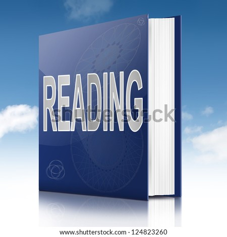 Illustration depicting a book with a reading concept title. White background.