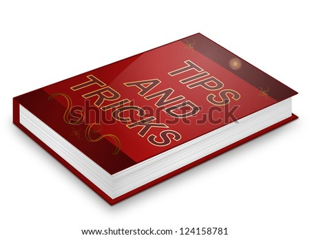 Illustration depicting a book with a tips and tricks concept title. White background.