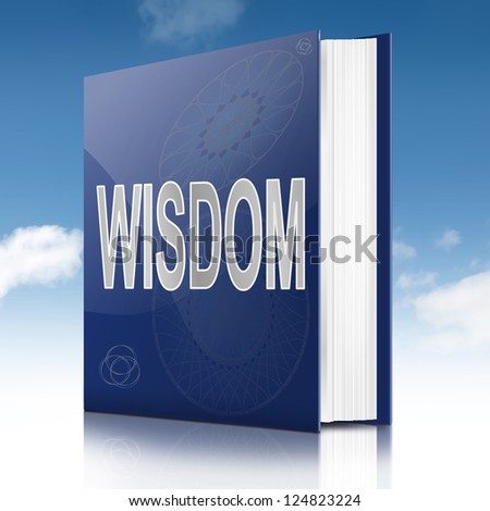Illustration depicting a book with a wisdom title. Sky background.