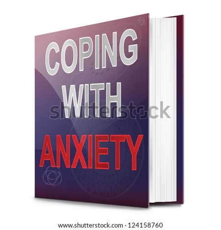 Illustration depicting a book with an anxiety concept title. White background.
