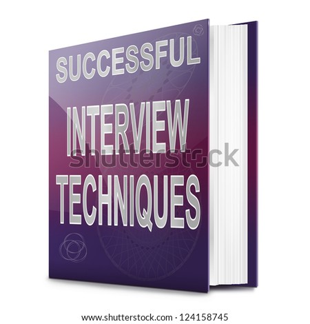 Illustration depicting a book with an interview technique concept title. White background.