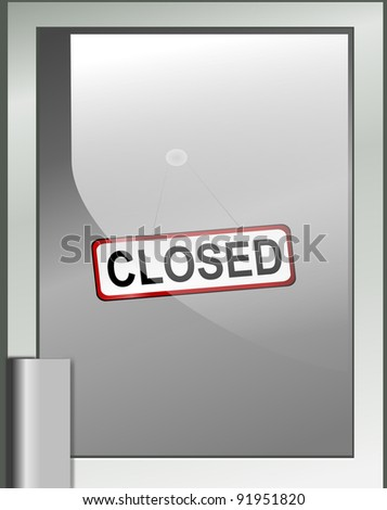 illustration depicting a closed sign hanging from a glass door.