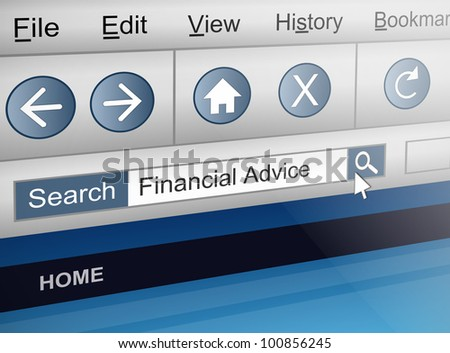 Illustration depicting a computer screen shot with a financial adviser search concept.