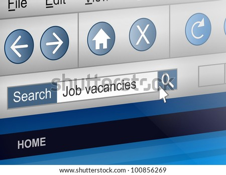 Illustration depicting a computer screen shot with a job search concept.