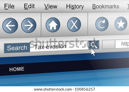 Illustration depicting a computer screen shot with a tax evasion search concept. - stock photo