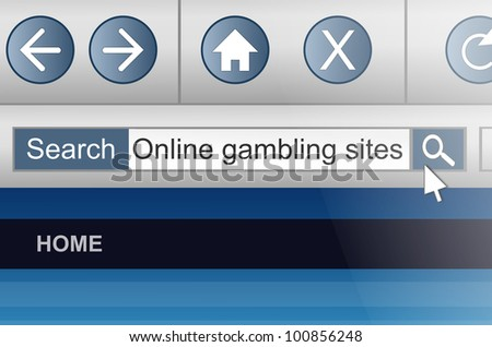 Illustration depicting a computer screen shot with an online gambling search concept.