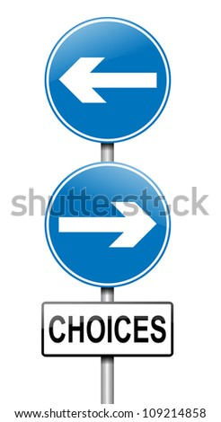 Illustration depicting a directional roadsign with a choices concept. White background.