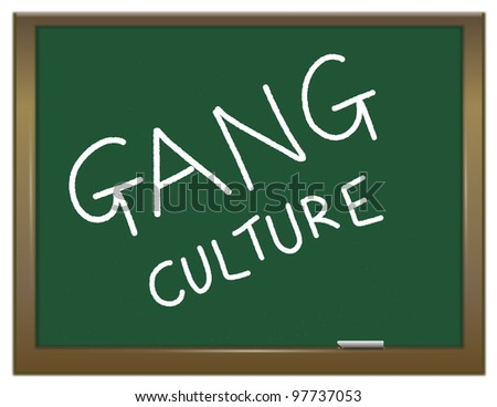 Illustration depicting a green chalk board with the white words GANG CULTURE written on it.