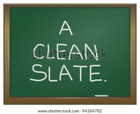 Illustration depicting a green chalk board with the words \'A clean slate\' written on it in white chalk.