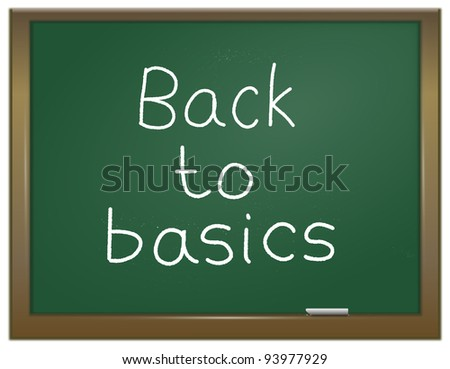 Illustration depicting a green chalk board with the words \'back to basics\' written on it in white chalk.