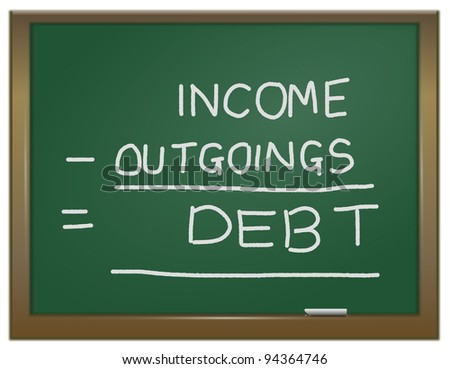 Illustration depicting a green chalk board with the words \'income - outgoings = debt\' written on it in white chalk.