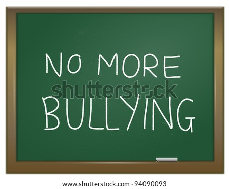 Illustration depicting a green chalk board with the words \'no more bullying\' written on it in white chalk.