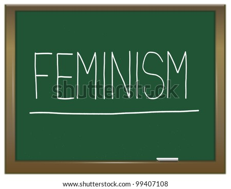 Illustration depicting a green chalkboard with a feminism concept written on it.
