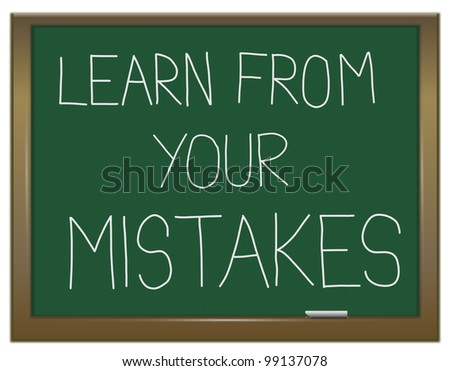Illustration depicting a green chalkboard with a learning from mistakes concept written on it.