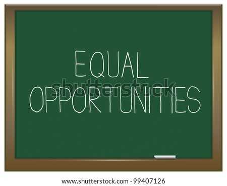 Illustration depicting a green chalkboard with an equal opportunities concept written on it.