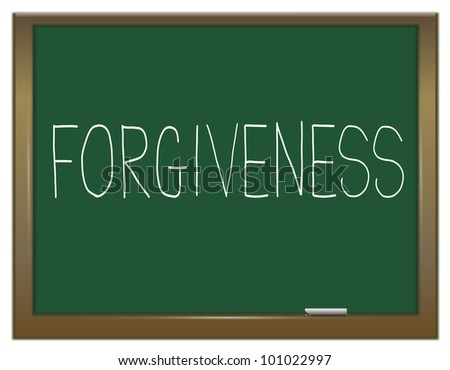 Illustration depicting a green chalkboard with the word 'forgiveness'.