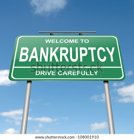 Illustration depicting a green roadsign with a bankruptcy concept. Blue sky background.