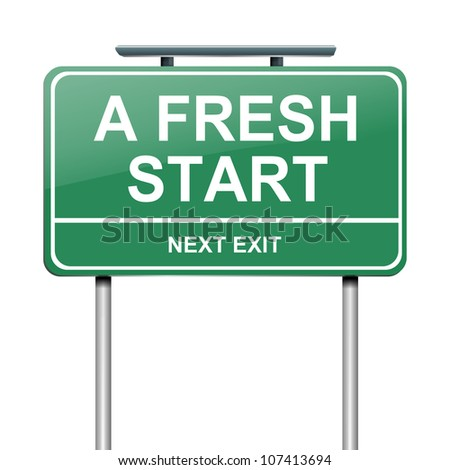 Illustration depicting a green roadsign with a fresh start concept. White background.