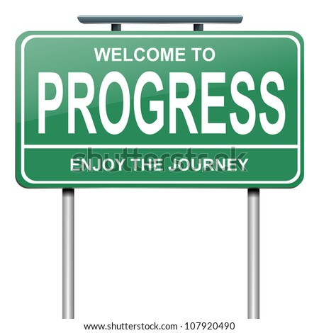 Illustration depicting a green roadsign with a progress concept. White background. - stock photo