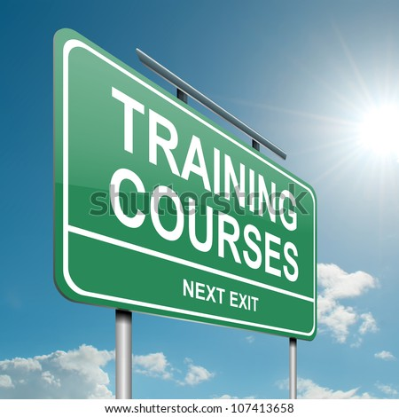 Illustration depicting a green roadsign with a training courses concept. Blue sky background.