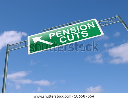 Illustration depicting a highway gantry sign with a pension cuts concept. Blue sky background.