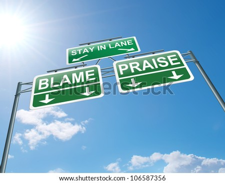 Illustration depicting a highway gantry sign with a praise or blame concept. Blue sky background.